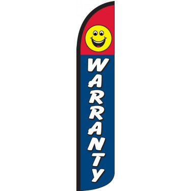 Warranty Smiley Face Wind-Free Feather Flag