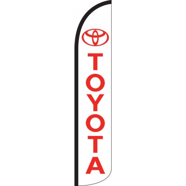 Toyota White/Red Wind-Free Feather Flag