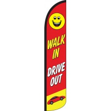 Walk In Drive Out Wind-Free Feather Flag