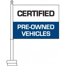 Certified Pre-Owned Vehicles (Blue & White) Car Flag