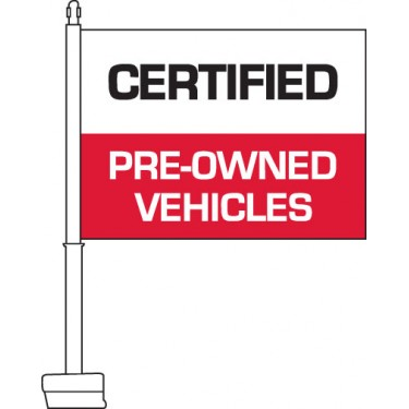 Certified Pre-Owned Vehicles (Red & White) Car Flag